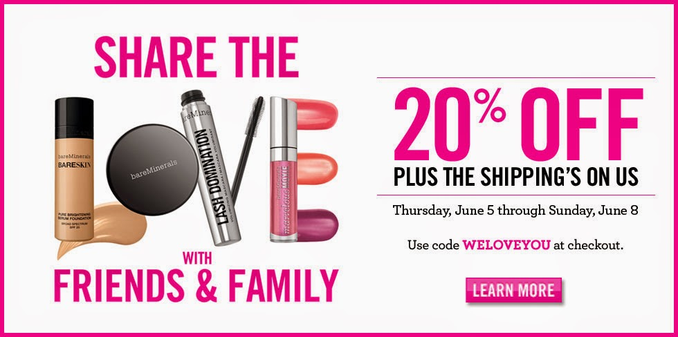 20% OFF Bare Minerals Friends and Family Event
