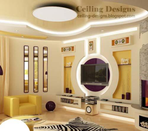 stretch tray ceiling design for living room with hidden lighting under the pvc frame - Blogspot Interior Design
