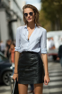 Fashion Week Street Style High Waisted Vegan Leather Skirt