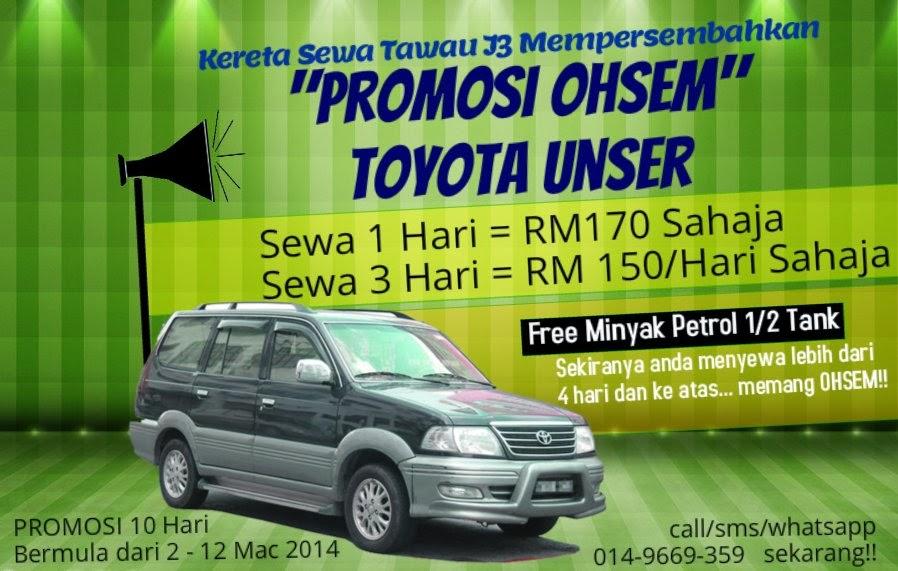 Toyota Unser Promotion at Kereta Sewa Tawau J3