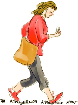 Dangerous walking with mobile phone is a gesture drawing by Artmagenta