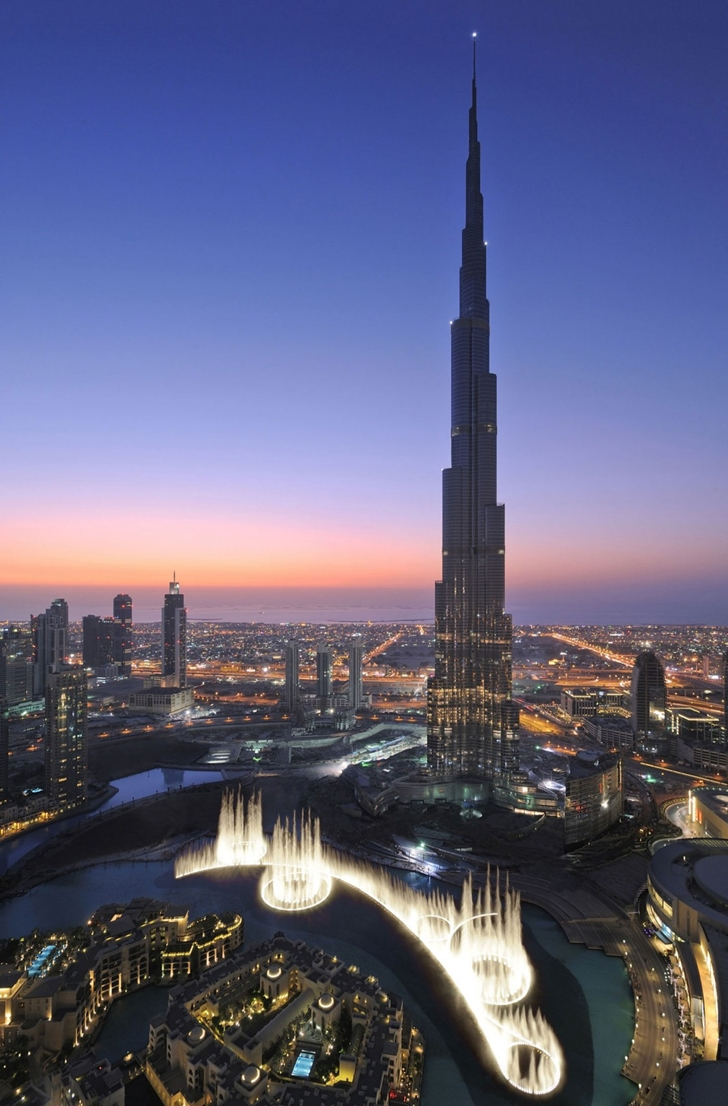 Burj Khalifa and fountains from the air