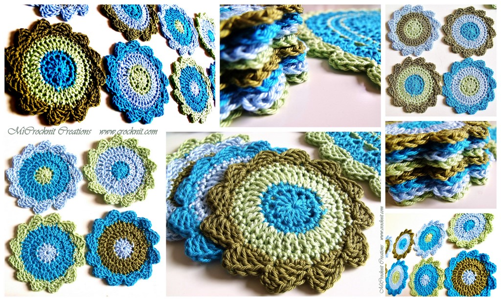 Free Online Crochet Patterns For Coasters : MICROCKNIT CREATIONS: SEASIDE Coasters