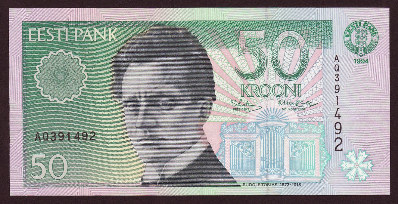 Estonia currency money 50 krooni banknote, Rudolf Tobias