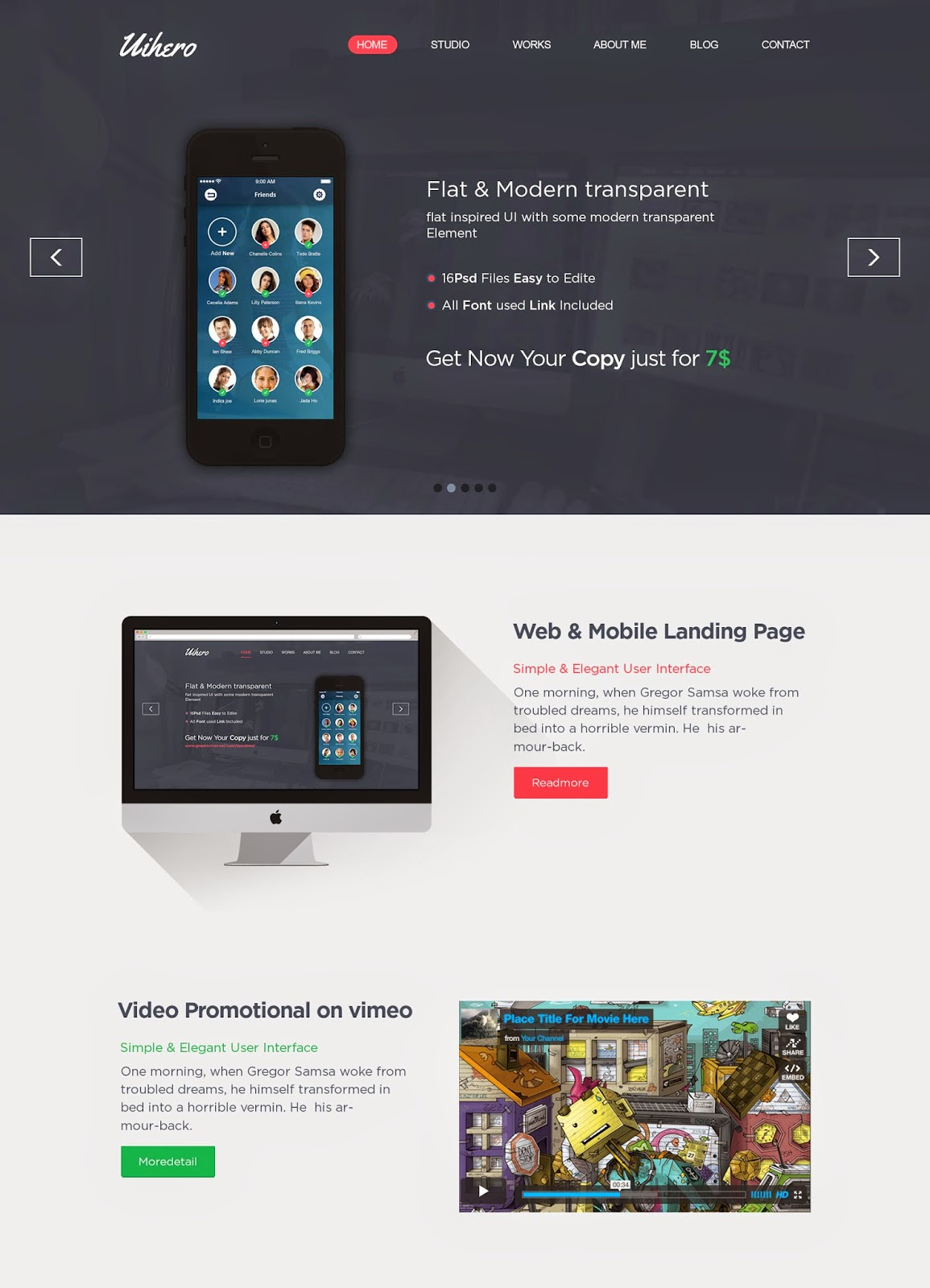 Free One Page PSD Website