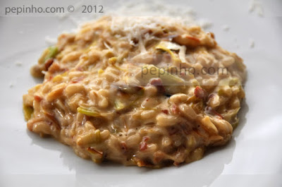Risotto de puerros caramelizados con jamn
