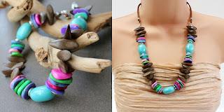 wood ceramic stone leather necklace