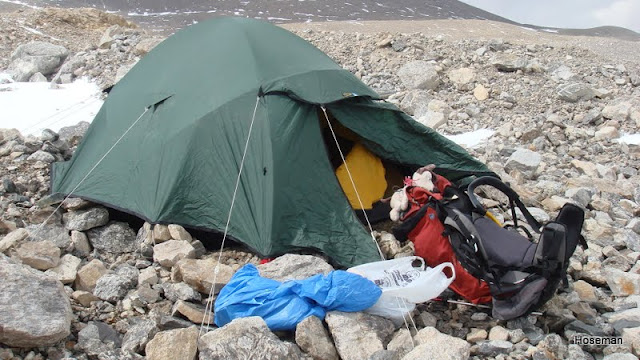 Platform cut out for tent. & 8000m and above