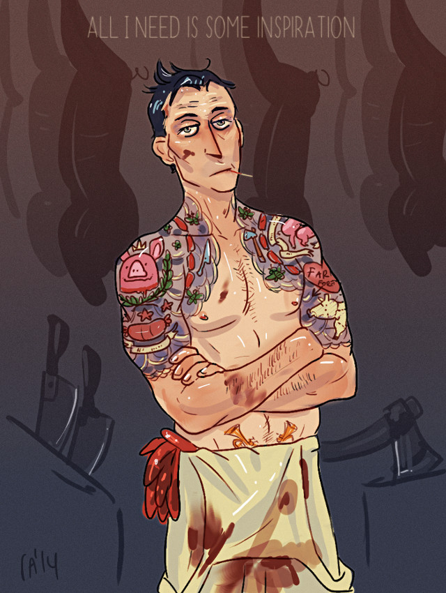 notmusa's characters fanart donovan at pig farm with glorious tattoos