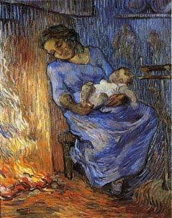 Mãe e filho bébé adormecidos