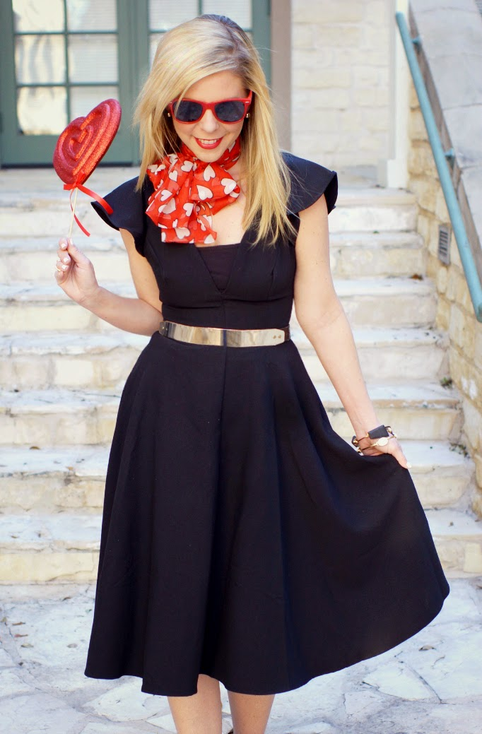 Lulu's Black Midi Dress for Valentine's Day