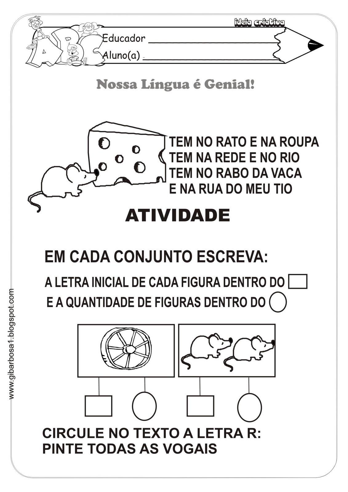 Super Blog Professor Zezinho : Atividades Com a Letra R RP56