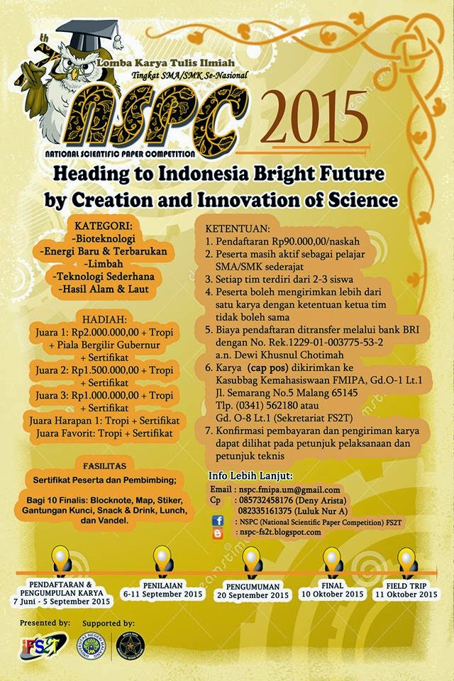 National Scientific Paper Competition (NSPC) 2015