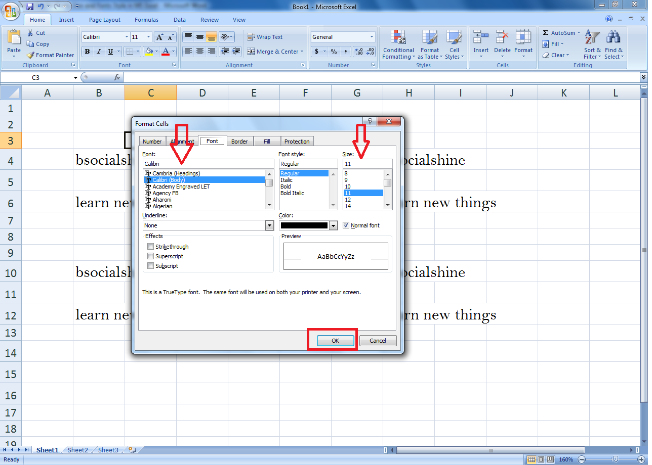 Shortcut Key for change Fonts Size & Fonts Style in MS Excel