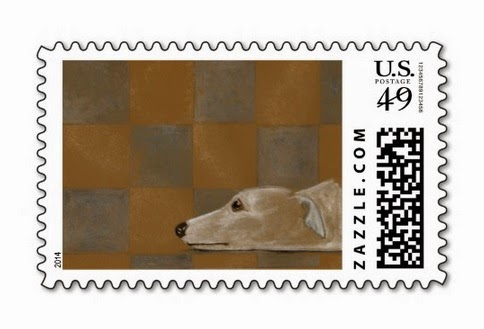 Greyhound stamps with my artwork