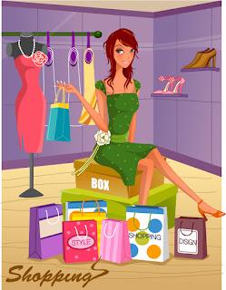 お洒落用品をいっぱい買い込む女性 fashion shopping women vector イラスト素材