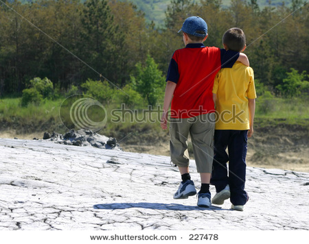 Back View Two Friends Walking Together ... - Shutterstock