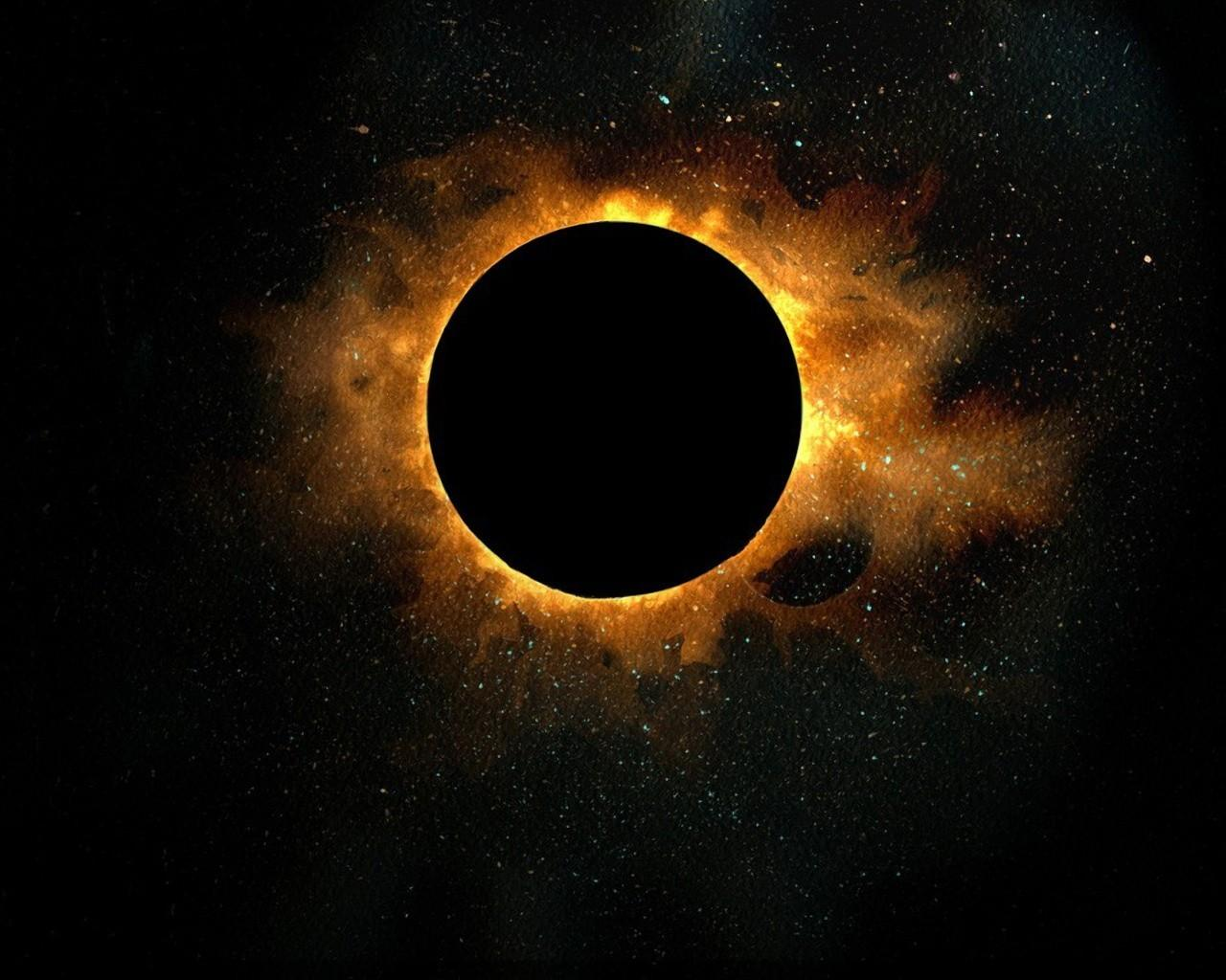 eclipse, sun, dark, outer space