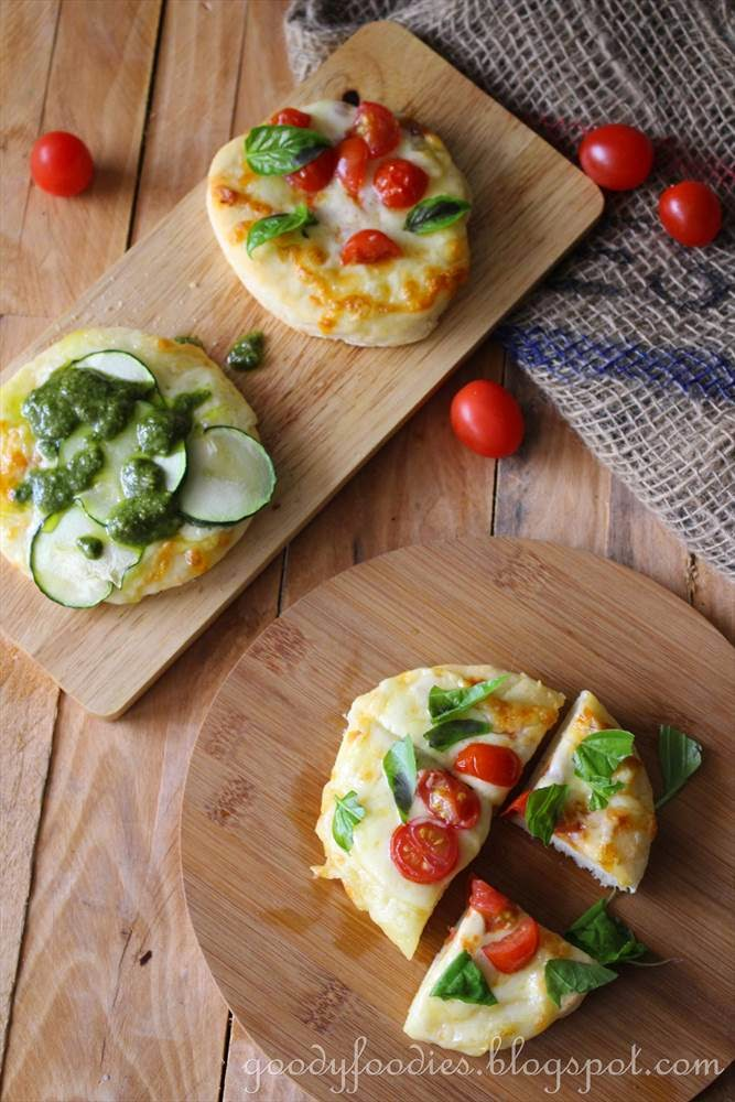 two-ingredient instant pizza dough + recipe for mini vegetarian pizzas