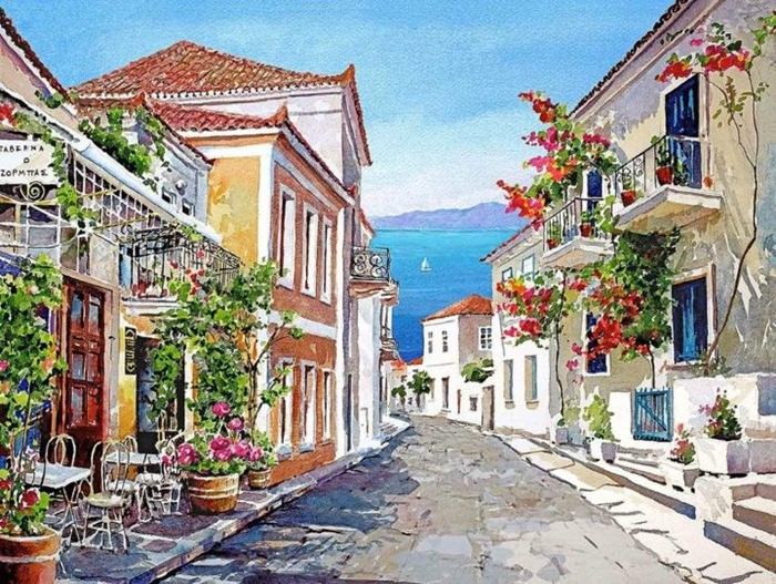 Pantelis Zografos 1949 | Acuarelas de las islas griegas