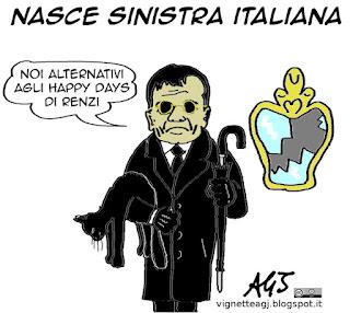 Fassina, sinistra italiana, pd, Sel, satira vignetta