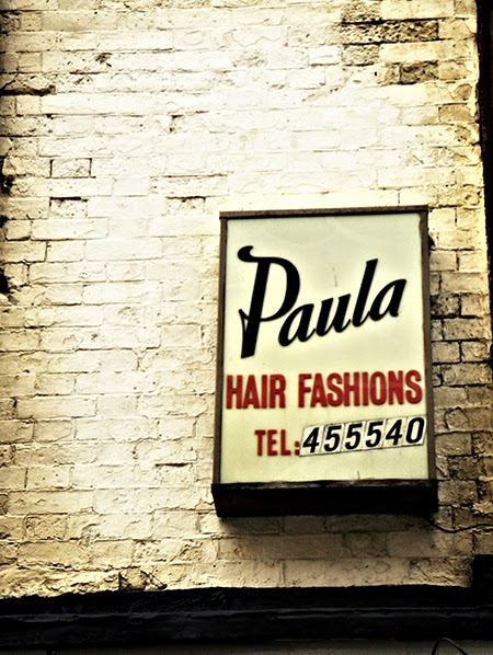 Paulas hair, sign, urban, photography, hairdressers, retro,