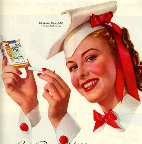 Flashback Summer- Hospitality: 5 Double-Use Tricks in a Dorm- old retro cigarette ad graduation