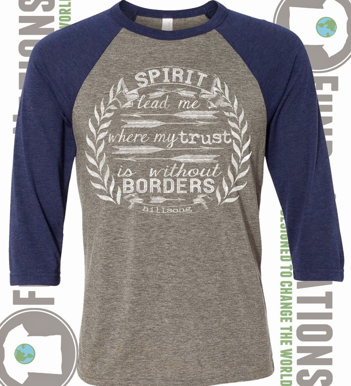 Spirit Lead Me Grey Navy Triblend Raglan
