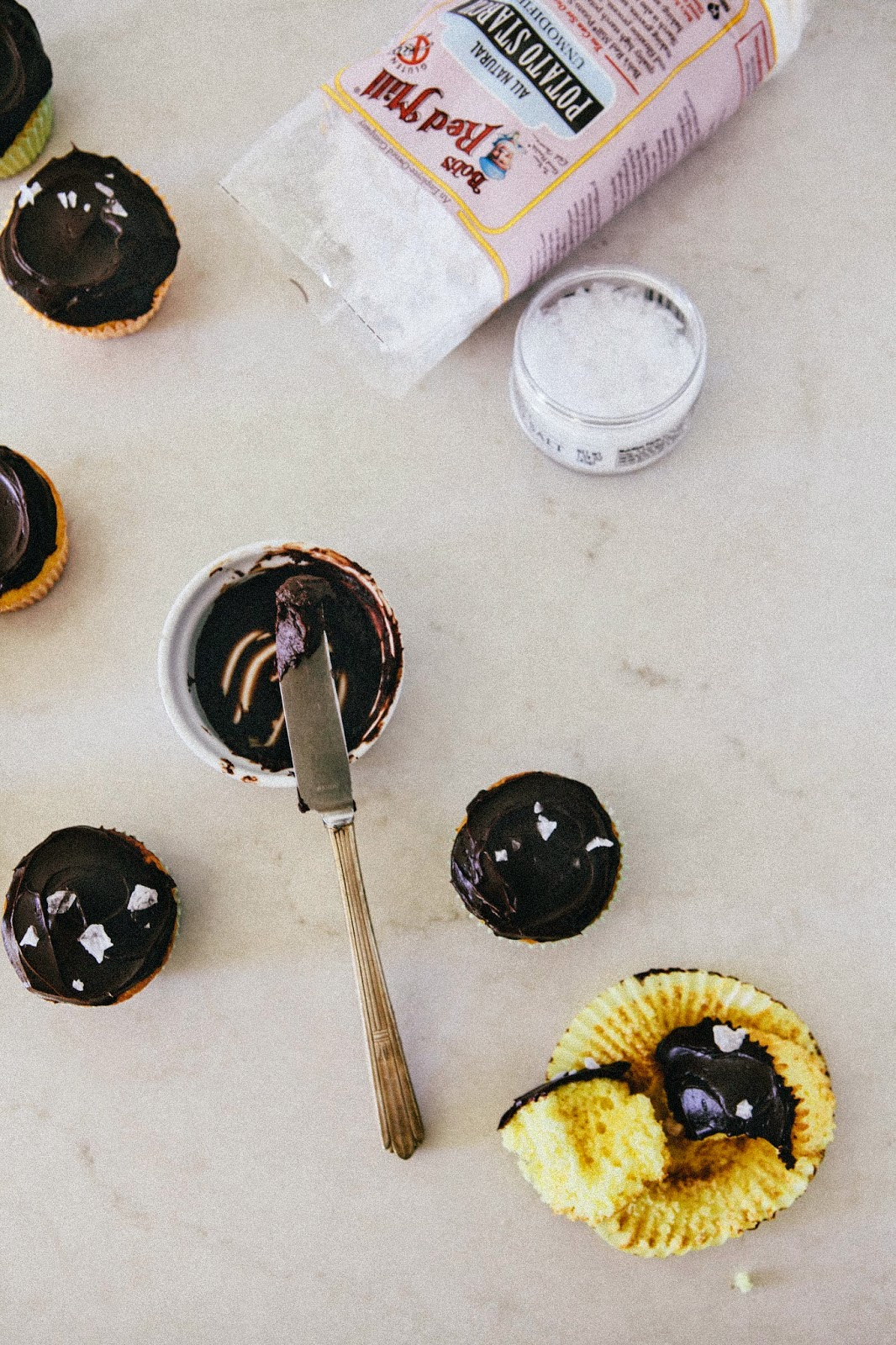 Yellow Cupcakes with Dark Chocolate Crème Fraîche Frosting and Flaky Sea Salt + A Giveaway!