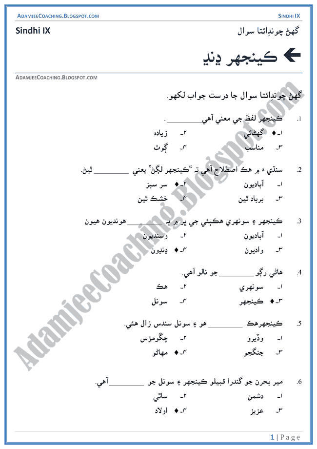 keenjhar-jheel-multiple-choice-questions-sindhi-notes-for-class-9th