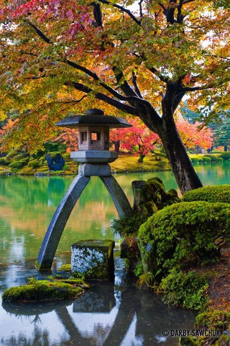 Kotoji-toro lantern in Kenrokuen garden in Kanazawa