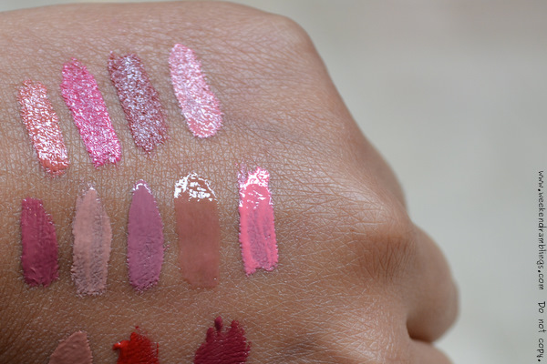 bare escentuals minerals pretty amazing lip color swatches Allure Ambition Bravado Charisma confidence courage Fearless Free will Moxie Savvy Strength Witty makeup blog lipsticks lipgloss