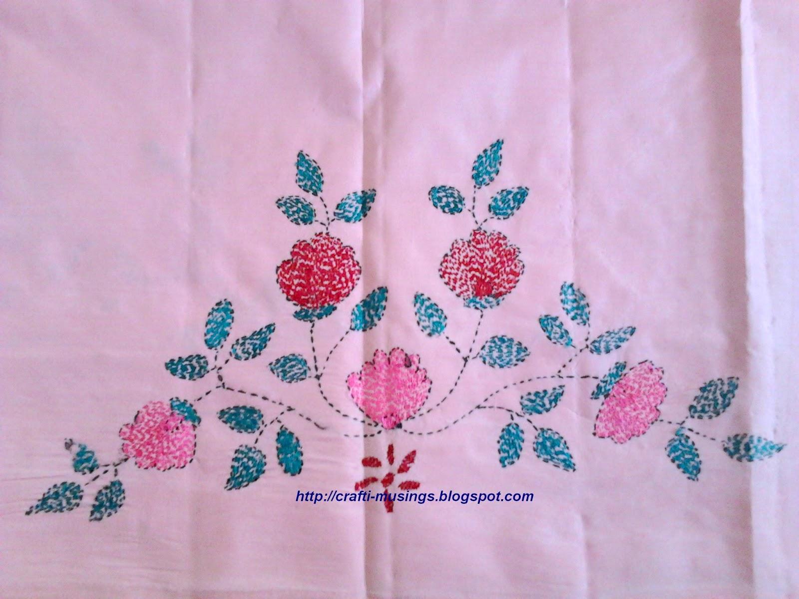 Crafti Musings Saree Embroidery 9 Kantha Bengali Embroidery 3