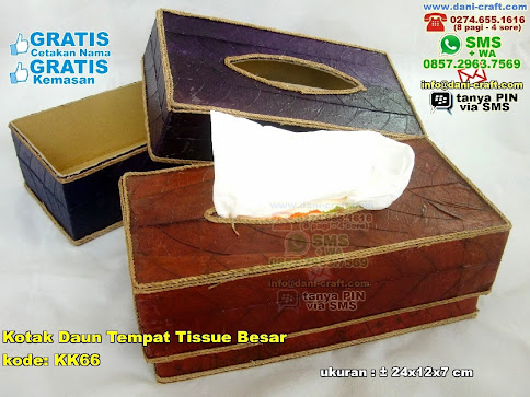 Kotak Daun Tempat Tissue Besar Karton Daun Coklat