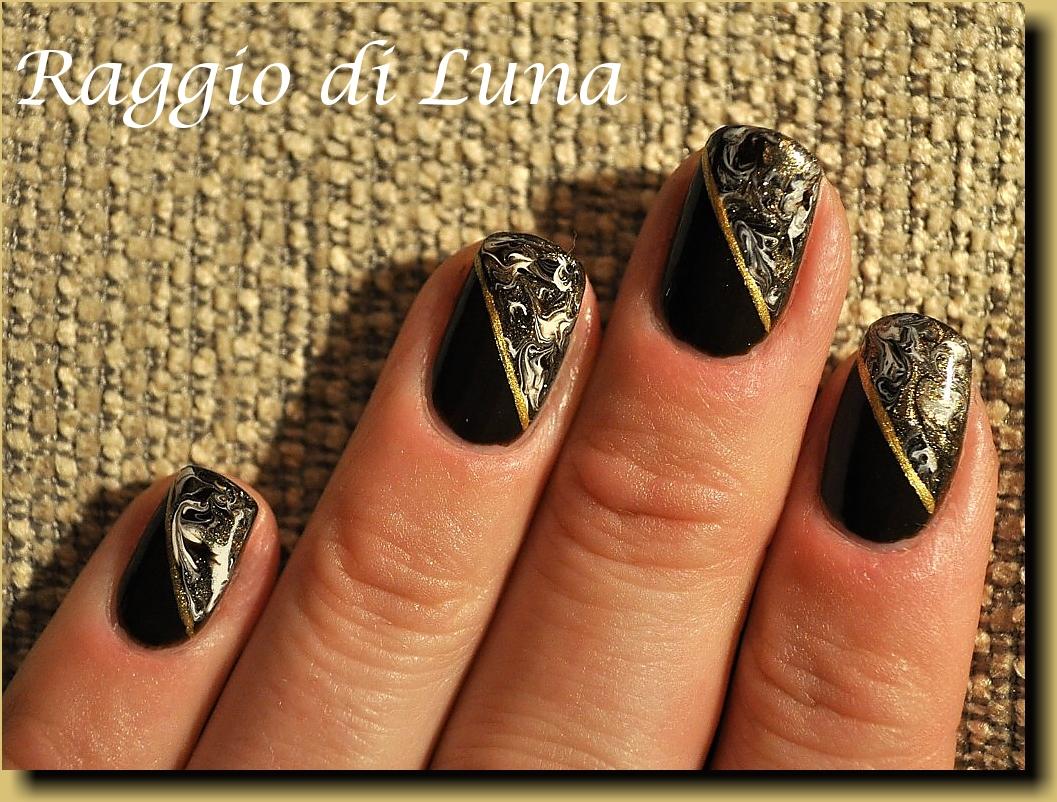 Raggio di Luna Nails: Diagonal marble nail art manicure: brown & golden