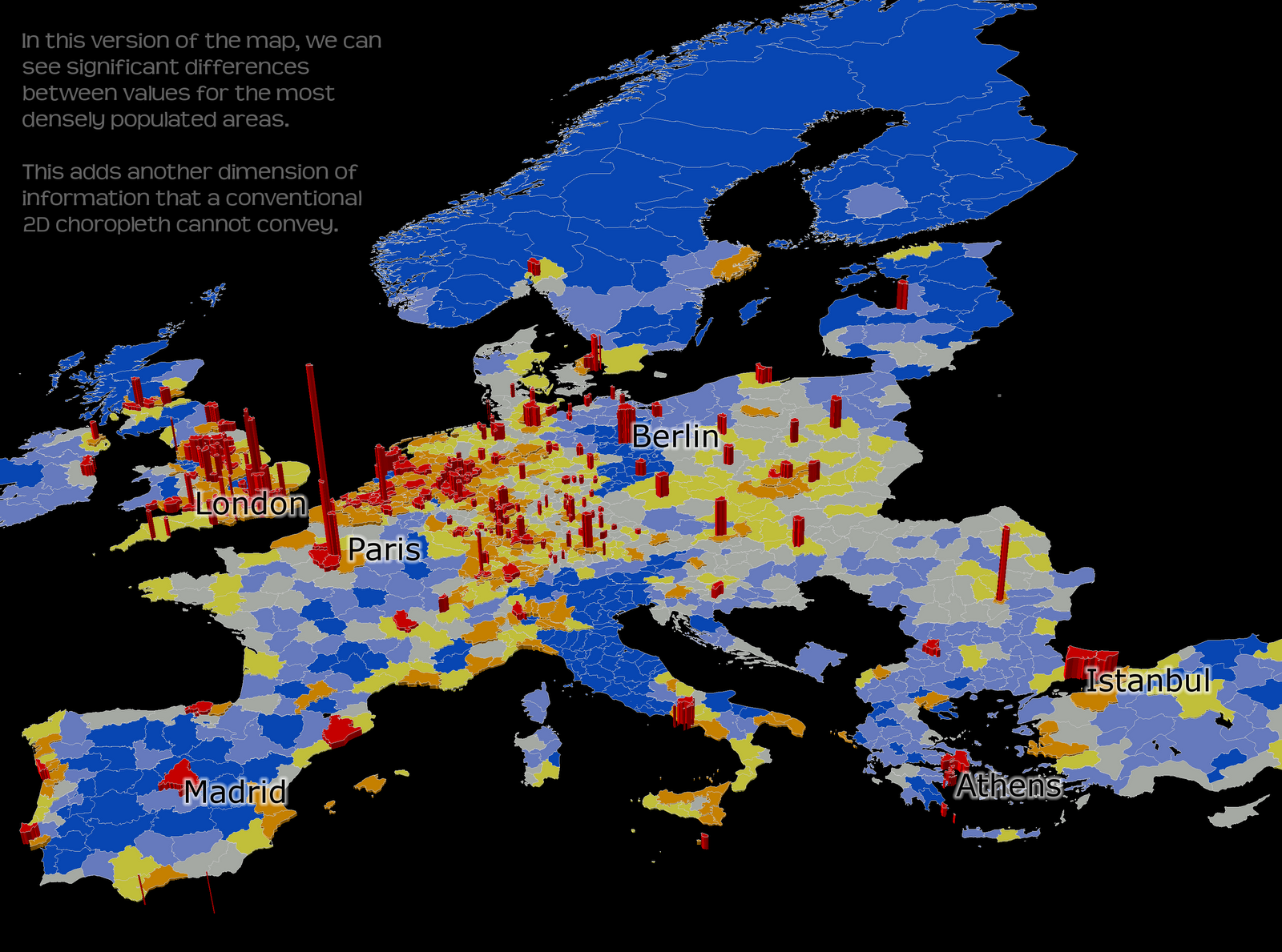 The Two Images Below Show Population Density In Europe At NUTS3 Level, With  A Colour Scale Running From Red (high Density) To Blue (low Density).