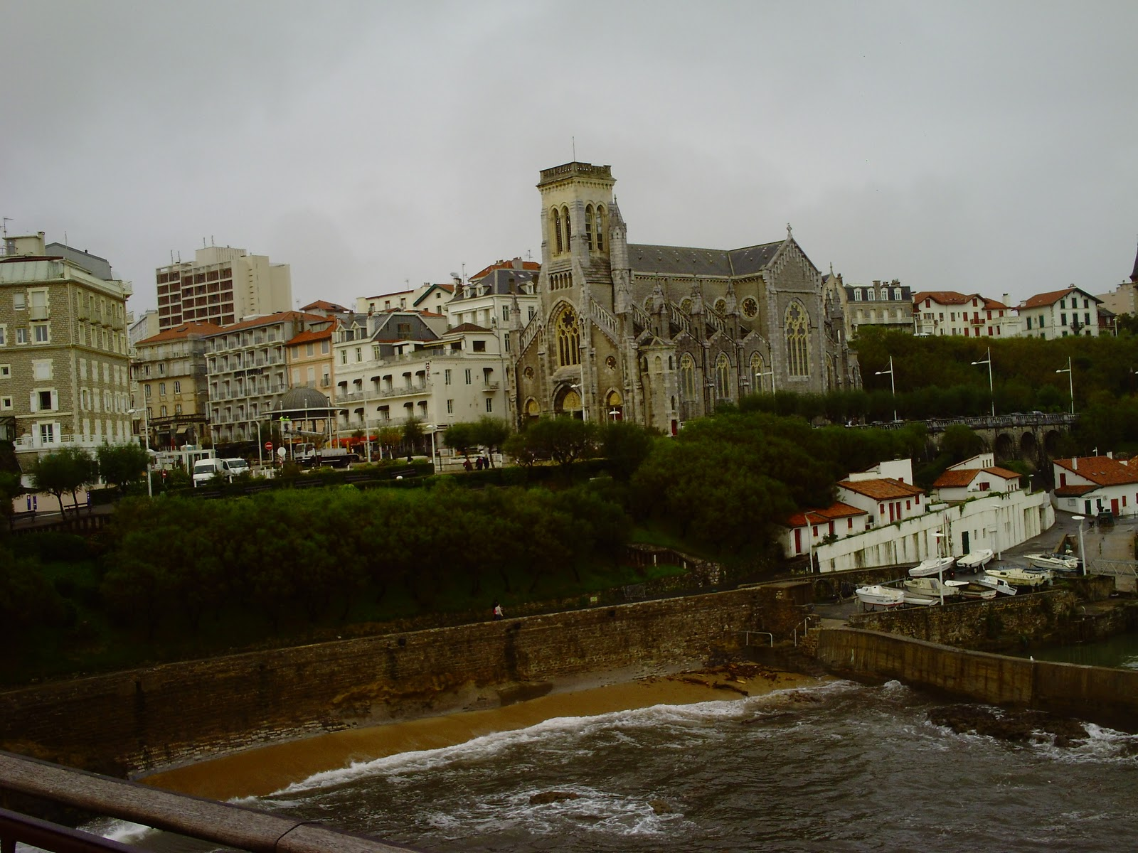 Biarritz seafront. We woke up to another dreary rainy morning and after ...
