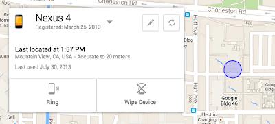 Google เปิดตัว Android Device Manager สำหรับค้นหาและลบข้อมูลเครื่องจากระยะไกล