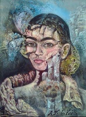 Retrato Portrait surrealista de Frida Khalo pintora Rudi