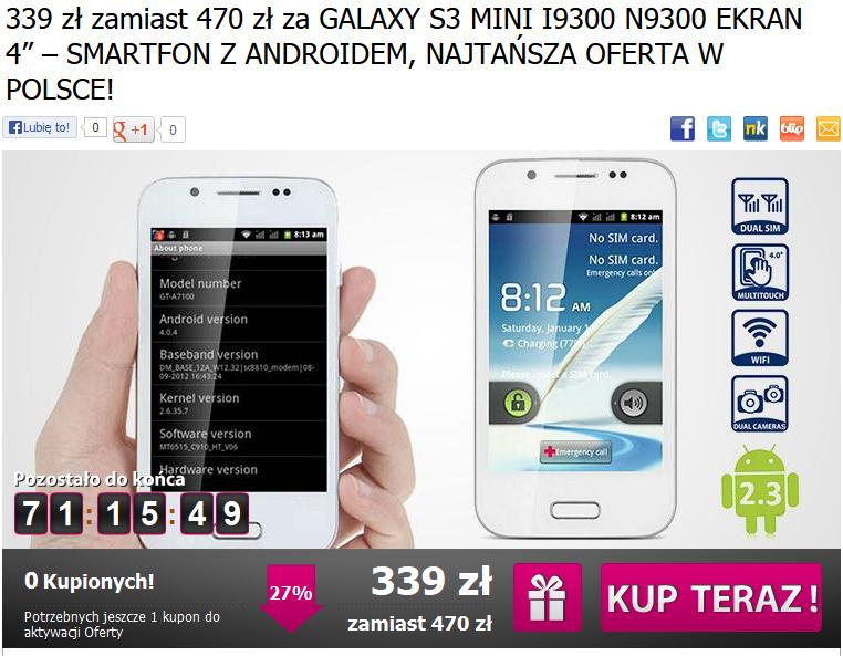 Okazik.pl Chińska podróbka Samsung Galaxy S3