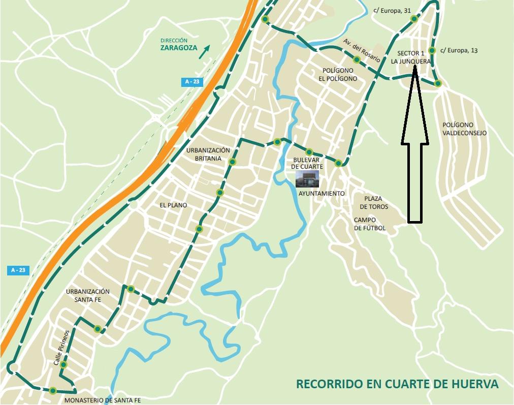 TRANSPORTE PÚBLICO EN ZARAGOZA: NUEVAS PARADAS EN CUARTE DE HUERVA
