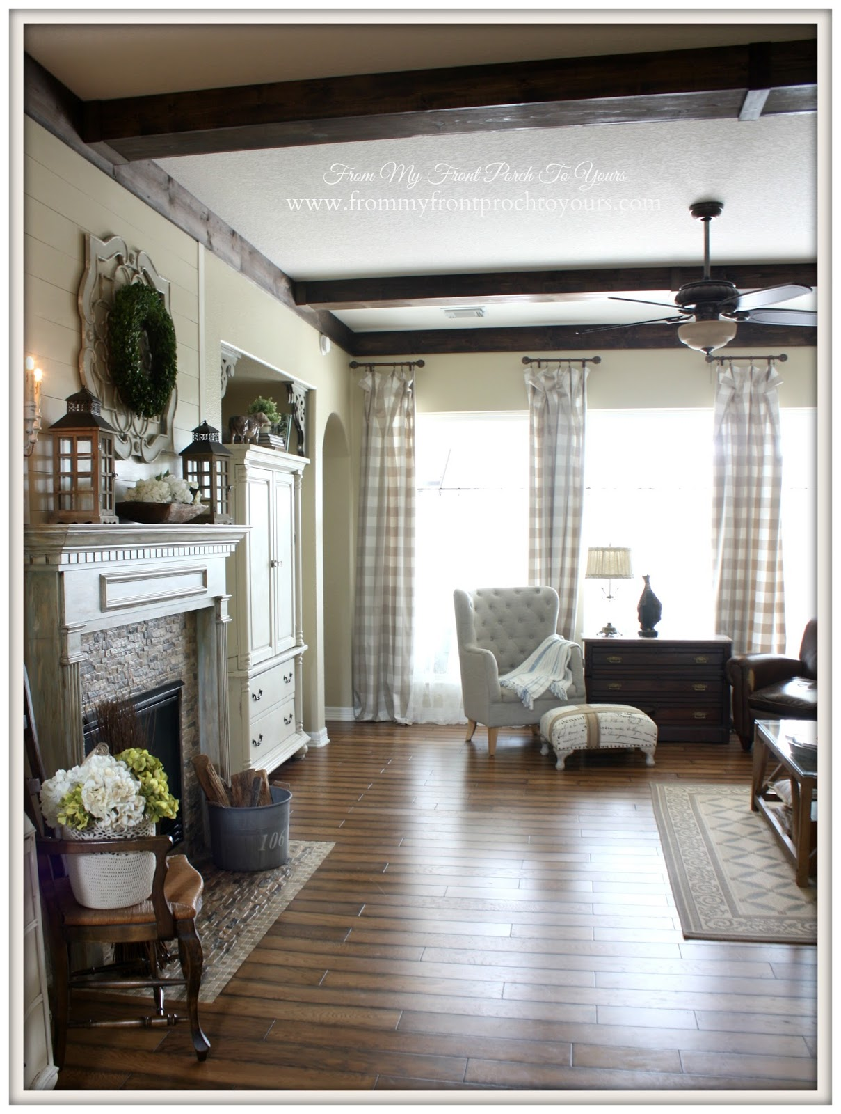 French farmhouse DIY Wood Beams in the living room.- From My Front Porch To Yours