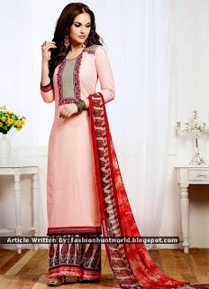 Pink Pure Cotton Palazzo Suits / Red Malaika Arora Khan Palazzo Suits