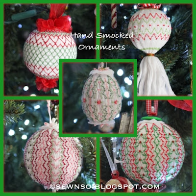 Hand Smocked Christmas Ornaments | SewNso's Sewing Journal