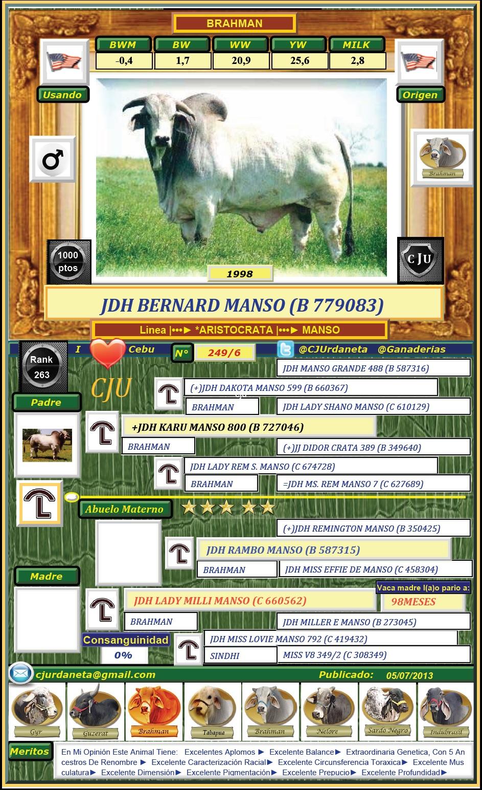 JDH BERNARD MANSO (B 779083)