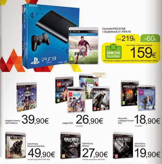 Consola PS3 + Juegos 219  /Carrefour 2014-15