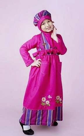 Contoh desain baju muslim anak tren 2015