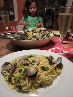 Galactosemia in PDX: Valentine's Asparagus, Clam & Bay Shrimp Pasta for #SundaySupper
