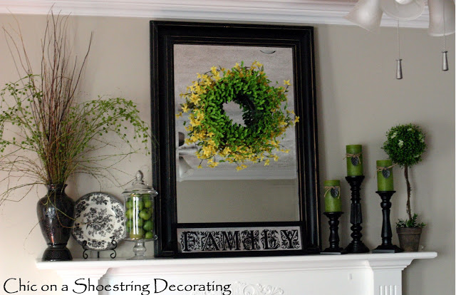 Summer Mantel 2012:  Green by Chic on a Shoestring Decorating