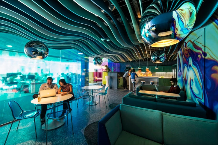 Underwater themed coffee shop in Google office in Dublin